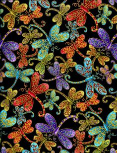 Pre-Order - - - Dragonfly Black Magic - Blank Quilting - 1 yard - More Available. $10.50, via Etsy.