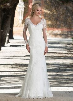 25a4d9fbf1bf Sincerity Sentry - Style 3898 from Sincerity Bridal, Illusion lace and  tulle long sleeve fit and flare gown featuring a V-neckline with floating  lace and a ...