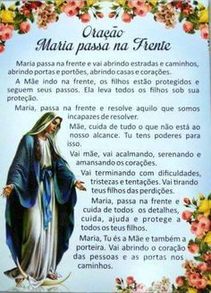 MARIA PASSA NA FRENTE Jesus Prayer, Catholic Prayers, Power Of Prayer, Quotes About God, Family Love, Affirmations, Texts, The Cure, Religion