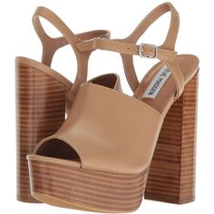 Steve Madden Studio (Natural Leather) High Heels (€60) ❤ liked on Polyvore featuring shoes, sandals, heels, leather sandals, block heel shoes, open toe sandals, steve madden sandals and heeled sandals