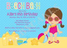 Beach Party Birthday Invitation  Choose your girl  by jcbabycakes, $12.00