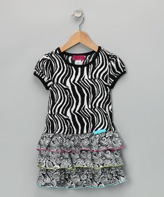 Take a look at this Pink Cactus Black & White Zebra Tier Dress - Infant, Toddler & Girls on zulily today!