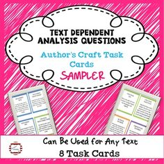 This is a sampler pack of my Text Dependent Analysis Questions resource. HOW TO USE:These task cards were created as a way to practice text dependent responses. The cards apply to many different texts and are generic so you can use as you read article, passages, novels, dramas, poems, etc.