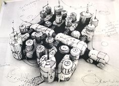 Awesome Sketch. So simple yet so perfect. Looks like you could hold it. Concept sketch for a modular habitat - NASA industrial design team