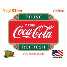 Drink Coca-Cola Sign of Good Taste Red Disc Vinyl Sticker Set of 6 Retro Planet