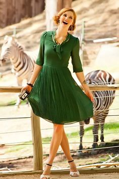 Secretary Style Tie-Neck Animalia Dress from the Zoology Collection by Shabby Apple