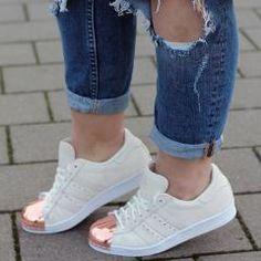 Adidas | adidas Originals Superstar 80s Rose Gold Metal Toe Cap Trainers at ASOS