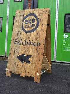 A-board manufactured using reclaimed FSC approved timber with graphics stencil sprayed onto the wood #aboard #sandwichboard
