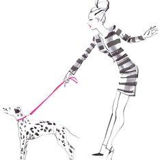 Lady holding dog illustration for Hallhuber charity scarf by Jacqueline Bissett