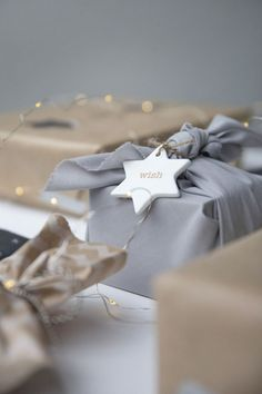 Fabric tied gift wrap.