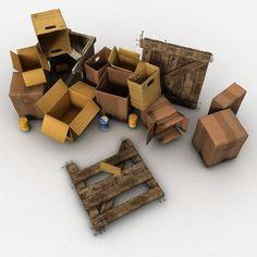 Junk Wood Crate 3D Obj - 3D Model