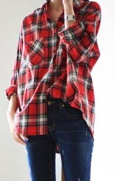 Oversized vibes. Red Plaid, Plaid Scarf, Fashion Tips For Women, Womens Fashion, Oversized Flannel, Flannel Shirt, Autumn Fashion, Spring Fashion, Grunge
