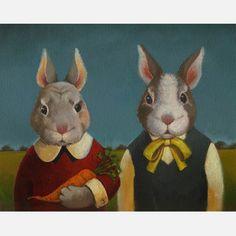 Rabbit Couple Portrait now featured on Fab.
