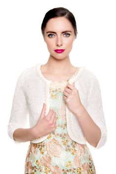 Lace Pearl Bolero www. Summer 2016, Summer Collection, Crochet Necklace, Pearls, Jackets, Fashion, Down Jackets, Moda, Fashion Styles