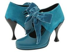 W8.5 Jade Peacock in teal suede and leather with velvet ribbon laces! $190