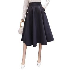 cda3e2c359867 2018 Autumn Winter Elegant Skirts Womens High Waist Pockets Casual Big  Swing Skirts Plus Size Long Skirt faldas saias