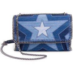 Stella McCartney Star Denim Shoulder Bag (18,740 MXN) ❤ liked on Polyvore featuring bags, handbags, shoulder bags, purse shoulder bag, man bag, blue purse, blue shoulder handbags and shoulder hand bags - Sale! Up to 75% OFF! Shop at Stylizio for women's and men's designer handbags, luxury sunglasses, watches, jewelry, purses, wallets, clothes, underwear & more!