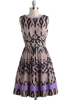 Mixer and Shaker Dress - Purple, Black, Pleats, Trim, A-line, Sleeveless, Tan, Mid-length, Print, Buttons, Daytime Party, Vintage Inspired