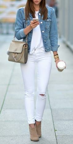winter style for teens White Jacket Outfit, Jean Jacket Outfits, White  Jeans Winter Outfit a680a946773c
