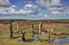 https://flic.kr/p/TPebCP | Salt marshes at Thornham, North Norfolk | Thornham is on the north Norfolk coast, about four miles from Hunstanton. Among the salt marshes there is the remains of an ancient port (pictured), which was used - among other things - to unload coal brought down the coast from Newcastle. The North Sea is beyond the sand dunes in the distance. You can just make out one of the many offshore wind farms.