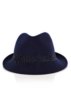 As seen in Star Magazine, this trilby has feather detail at the brim.