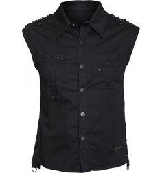 Gothic clothing: sleeveless men's shirt black metal studs