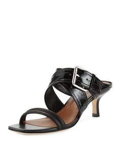 Donald J Pliner Mora Buckle Kitten-Heel Slide Sandal, Black  https://api.shopstyle.com/action/apiVisitRetailer?id=518942318&pid=uid2500-37484350-28