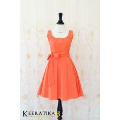 My Lady Fresh Tangerine Sundress Spring Summer Dress Orange Tea Dress... ($45) ❤ liked on Polyvore featuring dresses, black, women's clothing, orange dress, vintage style bridesmaid dresses, tea party dresses, sash belt and black dress