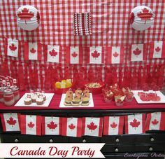 Katrina L's Canada Day / Red & White - Canada Day Party at Catch My Party Canada Day Party, Canada Day 150, Happy Canada Day, O Canada, Canadian Party, Canada Day Fireworks, Leaving Party, All About Canada, Canada Holiday