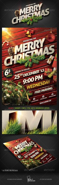 Christmas #Party #Flyer #Template - Holidays Events Download here: https://graphicriver.net/item/christmas-party-flyer-template/6254711?ref=alena994