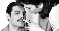 Rock singer Freddie Mercury (Frederick Bulsara, 1946 – of the popular British group Queen, has his moustache groomed. (Photo by Steve Wood/Express/Getty Images) Queen Freddie Mercury, Freddie Mercury Mustache, Freddie Mercury Songs, Jim Hutton Freddie Mercury, Bruce Springsteen, Billy Gibbons, Johnny Rotten, Sundance Kid, Anthony Kiedis