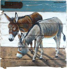 Twee ezels met blauwe rand / Two donkeys with a blue edge - 86 x 81 cm | ezel…