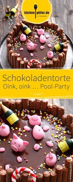 Was für eine süße Sauerei. Die Motivtorte aus feinster Schokolade und liebevoller Schweinchen-Verzierung aus Fondant ist der Hingucker auf jeder Silvester-Party oder Geburtstag.