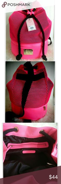 """Juicy Couture Neon Pink Scuba Sling Beach Gym Bag Juicy Couture Neon Pink Scuba Sling  Approximately 16"""" Tall, Bottom Width 11"""" Color Will Appear Different In Person May Have A Few Light Dirt Spots But Not Sure If It's Just The Black Underneath Showing Through. Brand New With Tags Retail $89 Great For Beach, Gym & More Reasonable Offers Considered, No Trades Juicy Couture Bags Totes"""