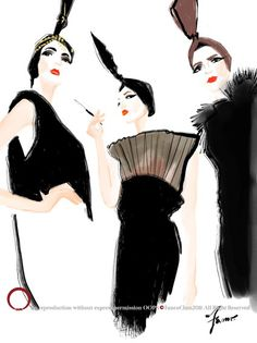 Jean PAul Gautier by Fanco Chen at OOPS fashion illustration studio