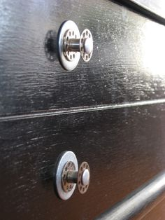 Wardrobe / drawer handsles made with old metal sewing bobins-  Industrial Chic