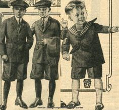 1923 Boys Clothes Price: $3.65 - $8.95  Description The boyish styles of 1923 feature utilitarian play suits with jackets, knickers, and an extra set of pants to make the outfit last longer. Younger boys outfits include smaller versions of the suits as well as sailor style play clothing.