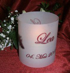 Tischlicht zur Kommunion Taufe Hochzeit, 14,5  cm, Papier + Druck in Wunschfarbe