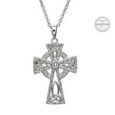 Shanore Celtic Trinity Cross Embellished With Swarovski Crystals Irish Design, Irish Jewelry, Crystal Cross, Circular Pattern, Claddagh, Necklace Designs, Cross Pendant, Jewelry Shop, Swarovski Crystals