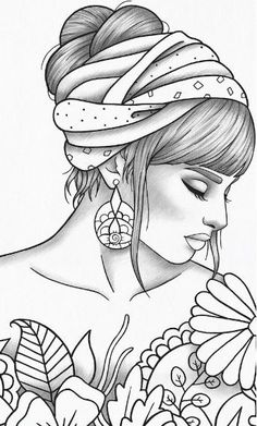 Adult coloring page girl portrait and clothes colouring sheet fashion pdf printable anti-stress relaxing zentangle line art Girl Drawing Sketches, Art Drawings Sketches Simple, Pencil Art Drawings, My Drawings, Tumblr Outline Drawings, Cute Drawings Of Girls, Colorful Drawings, Drawing Art, Tattoo Drawings