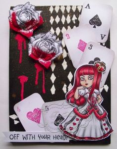 Visible Image stamps - Queen of Hearts - Playing cards - Teresa Morgan Another beautiful play on this stamp set Hearts Playing Cards, Image Stamp, Atc Cards, Queen Of Hearts, Alice In Wonderland, Craft Projects, Stamps, Old Things, Card Making
