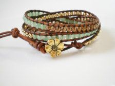 Jewelry in For Her - Etsy Gift Ideas gold green, boho chic, beauti dress, flower jewelry, bead, leather wrap bracelets, wrap boho, chic 3x, leather bracelets
