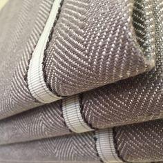 Ian Mankin fabric with braid trim, Roman blind handmade by Victoria Clark Interiors.