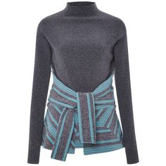 Thakoon Grey Striped Knitwear Tie-Front Pullover (1 750 AUD) ❤ liked on Polyvore featuring tops, sweaters, grey, grey sweater, turtleneck sweater, pullover sweater, turtle neck sweater and long-sleeve peplum top