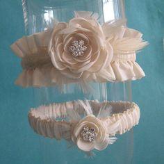 Bridal garter Pale Champagne Feather Rose Wedding by HARTfeltart, $42.00