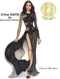 Irina Shayk by David Mandeiro Illustrations – Versace Spring Summer 2016 Fashion Show in Paris