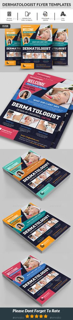 Dermatologist Flyer Templates Dermatologist Flyer Templates is a professional, clean, & creative Dermatologist Flyer Templates designed to make a good impression. ................................................ Features : - Editable in adobe photoshop - Professional design - Uses free fonts - All objects, colors, & text are editable - Easy to Edit - Print Ready [CMYK]