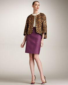 Leopard Jacket, Ruffle-Shoulder Blouse & Linen-Silk Crepe Skirt by Giambattista Valli at Bergdorf Goodman.