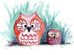 A watercolor owl by Stephen Wilson. #owl #owls #watercolor