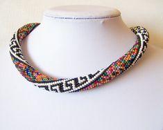 Beaded crochet rope necklace  Beaded necklace  Handmade por lutita
